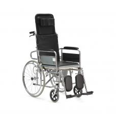 Кресло-коляска FS609GC механическая с санитарным оснащением для инвалидов, ширина сиденья 42 см, вес коляски 24,3 кг, грузоподъемность до 100 кг