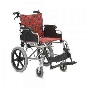 Кресло-каталка для инвалидов, грузоподъемность до 110 кг, цвет красный в клетку, литые шины, ширина сиденья 46 см, вес 13,2 кг (200900007)