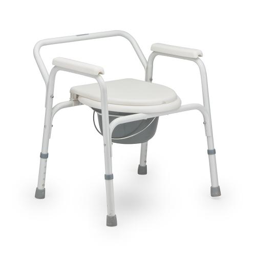 Кресло-туалет для инвалидов с опорной рамой и несъемными подлокотниками FS810