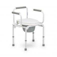 Кресло-туалет  FS813 для инвалидов с опорной спинкой и откидными подлокотниками, рабочая ширина 38 см, максимальная грузоподъемность 110 кг, вес 7 кг