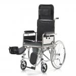 Кресло-коляска с санитарным оснащением FS619GC для инвалидов, ширина сиденья 43 см, вес коляски 25 кг, грузоподъемность до 100 кг
