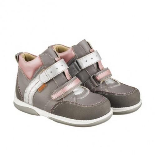 Детская профилактическая обувь, серо-розовая модель POLO JUNIOR