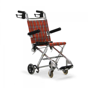 Кресло-каталка стандартная для инвалидов, грузоподъемность до 70 кг, цвет красный в клетку, вес 6,7 кг (200900022)