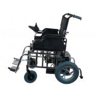 Кресло-коляска для инвалидов LY-EB103-112 с электроприводом, съемные подножки и подлокотники, ширина сиденья 46 см, хром. рама, макс.грузоподъемность 120 кг, вес 55 кг