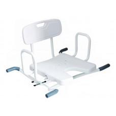 """Сиденье со спинкой для ванны """"KAMILLE LY-200-794"""" поворотное с U-образным вырезом, грузоподъемность 100 кг"""