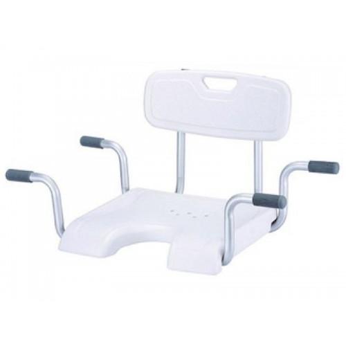 """Сиденье со спинкой для ванны """"KAMILLE LY-200-5016W"""", U-образный вырез, грузоподъемность 120 кг"""