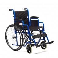Кресло-коляска Н 035 для инвалидов, механическая, цвет черный, стальная рама, грузоподъемность до 110 кг, вес 18,7 кг, литые или пневмоколеса по выбору, ширина сиденья по выбору: 41, 43,5, 46, 48,5, 51 см