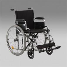 Кресло-коляска Н 010 для инвалидов, механическая, передние литые и задние пневмоколеса, цвет черный, стальная рама, грузоподъемность до 110 кг, ширина сиденья 45 см, вес 18,9 кг