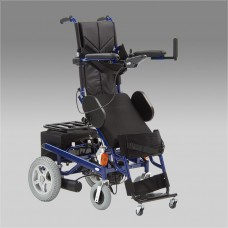 Кресло-коляска электрическая для инвалидов FS129 с функцией вертикализатора, съемная спинка, богажный отсек, регулируемая несъемная подножка, откидные подлокотники, ширина сиденья 45 см