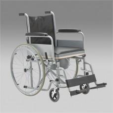Кресло-коляска FS682 механическая с санитарным оснащением для инвалидов, ширина сиденья 43 см, вес 19 кг, грузоподъемность до 110 кг