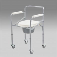 Кресло-коляска FS693 с санитарным оснащением для инвалидов, шир сиденья 38 см, грузоподъемность до 100 кг, вес 6,8 кг
