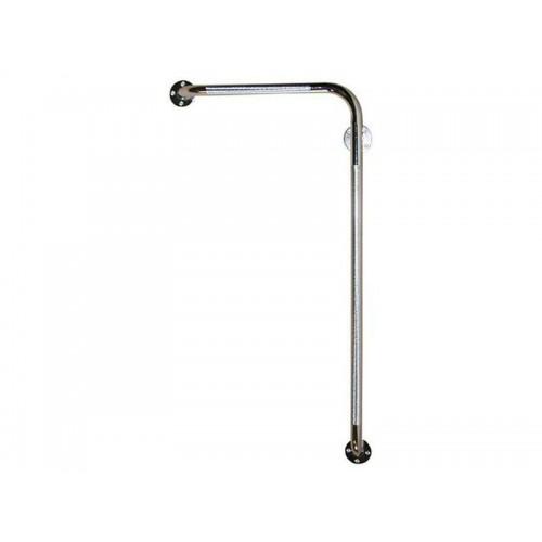 """Угловой левый опорный поручень для ванной """"PROFI-NORMAL"""" (LY-3001-U-80L) хромированный, 80 см"""