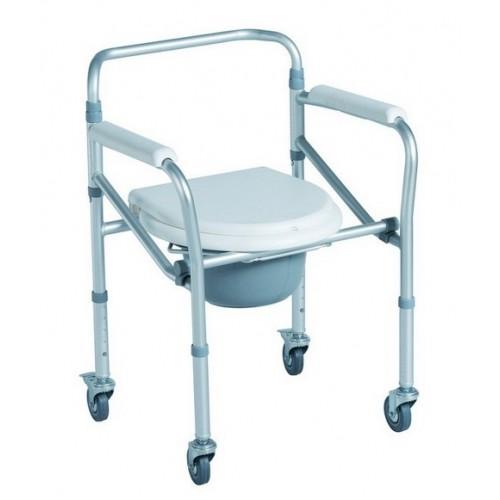 Кресло туалетное DRVW01XKX, складное на колёсиках, с регулировкой высоты, нагрузка до 100 кг, рабочая ширина 45 см