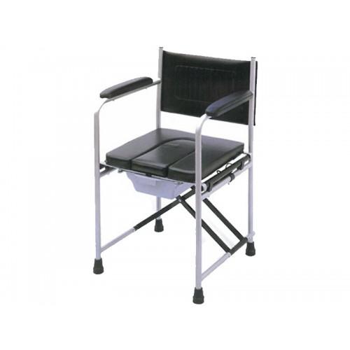 Кресло-туалет для инвалидов, с мягким сидением, опорной спинкой  и подлокотниками, рабочая ширина 44 см (LY-2815)