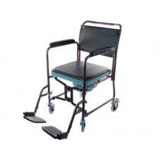 Кресло-туалет LY-800-690 для инвалидов, складное, с мягким сиденьем, на колесах, со съемными подлокотниками и съемными подножками, рабочая ширина 43 см