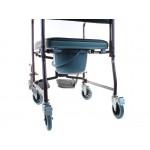Складное кресло-туалет для инвалидов на колесах с мягким сиденьем и съемными подлокотниками и подножками LY-800-690