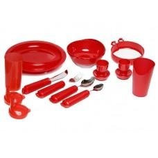 Комплект столовой посуды (красный) 11 предметов  (НА-4003)