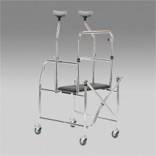 Ходунки-роллаторы металлические  FS203 с регулировкой по высоте и сидением, максимальная нагрузка 110 кг(201900009)